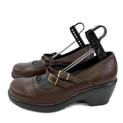Dansko Mules 38 Mary Jane Slip On Shoes Adjustable Buckle Clogs Brown - $49.47
