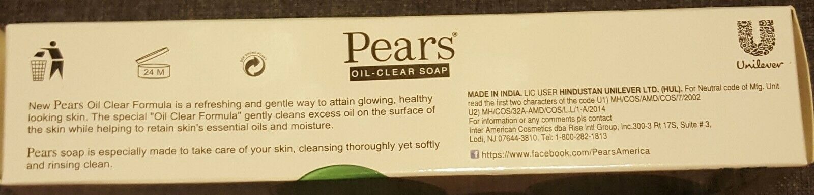 Pears Oil Clear Soap with Lemon Flower Extract 4.4 oz (Family Pack of 3 bars)