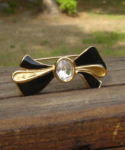 Vintage Trifari Bow Brooch, Black Enamel with Oval Crystal Solitaire - $25.00