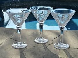 Godinger Lead Crystal Clear Martini Glasses South Beach Palm 10 Ounce Se... - $64.35