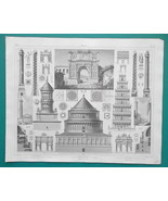 ARCHITECTURE Italy Columns Arches Rome Verona Torbia - 1844 Superb Print - $19.80