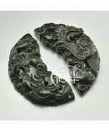 Free Shipping - hand carved Chinese Natural black green Dragon Phoenix j... - $19.99