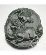 Free Shipping - hand carved Chinese Natural black green Dragon jadeite j... - $19.99