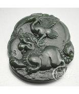 Free Shipping - hand carved Chinese Natural black green Dragon jadeite jade  cha - $19.99