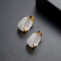 LUOTEEMI New Fashion Small Gold Color Clear Cubic Zirconia Hoop Earrings For Wom - $16.85