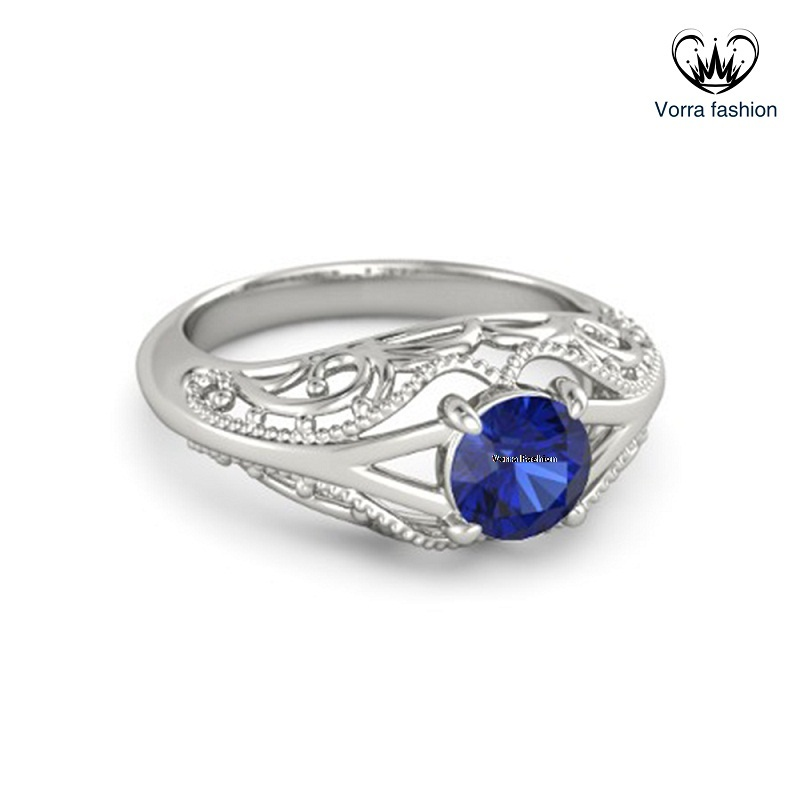 Blue Sapphire Solitaire Engagement Ring In 14k White Gold Plated Pure 925 Silver