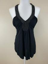 NWT BCBG MaxAzria S Small Solid Black Beaded V Neck Halter Top Shirt - $29.99