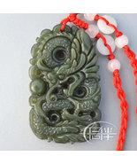 Free Shipping - Chinese Natural dark green Dragon jadeite jade  charm Pe... - $19.99