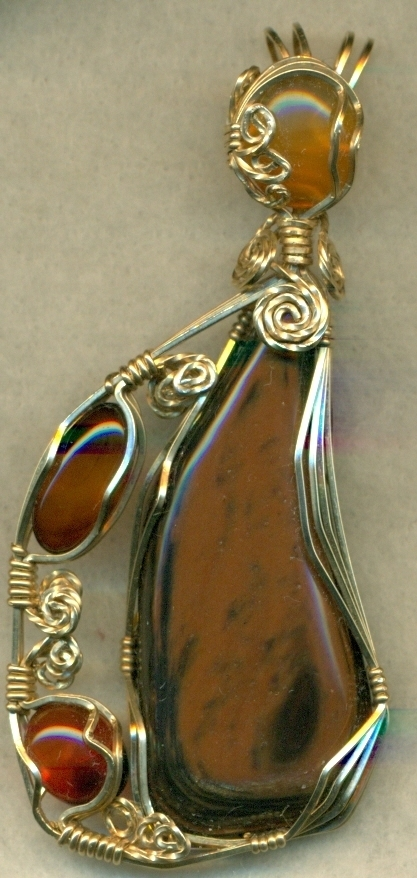 Gold Sheen Obsidian Gold Wire Wrap Pendant 13