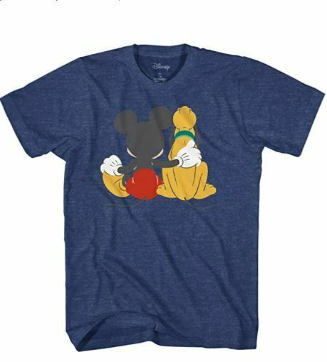 Disney Mickey and Pluto Best Friends Adult T-Shirt  MEDIUM , Navy Heather NEW !!
