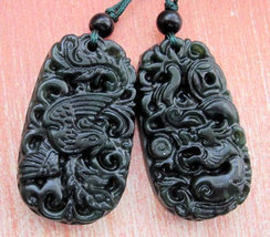 Free Shipping -  A pair Natural black  jadeite carved dragon Phoenix  Pendant  c - $20.00