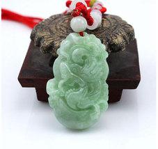 Free Shipping - 2012 Year - good luck Amulet Natural  green Jadeite Jade  Dragon - $20.00