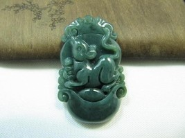 Free Shipping - Jadeite jade Grade AAA Natural dark Green Jadeite Jade carved Ra - $20.00