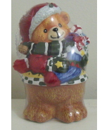 Christmas Santa Bear New Ceramic Figurine - $5.95