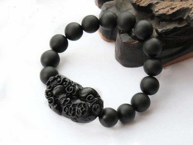 Free Shipping -  '' good luck '' Amulet  Tibet natural black STONE  '' PI YAO''  image 2