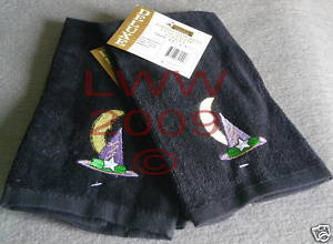 Two Witch Hat Embroidered Black Fingertip Towels- NEW  image 1