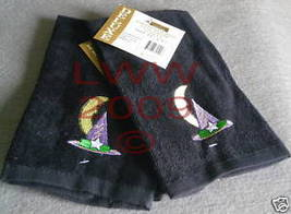 Two Witch Hat Embroidered Black Fingertip Towels- NEW  - $5.99