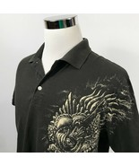 Lucky Brand Mens Large Polo Shirt Brown Occult Guitar Skulls Flames Roses  - $17.95