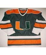 Miami Hurricane ACC Sebastian the Ibis NCAA Orange Green White Hockey Je... - $69.29
