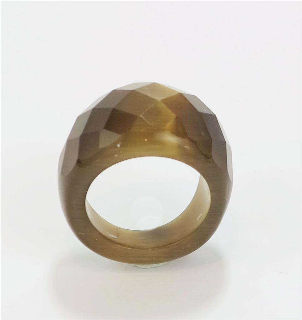 Primary image for Chunky Brown Bronze Fiber Optic Glass Cat's Eye Wide Faceted Dome Ring Sz 10