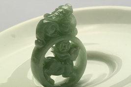 Free Shipping - Amulet Hand-carved  Natural green Jadeite Jade Rabbit  Pendant c - $30.00