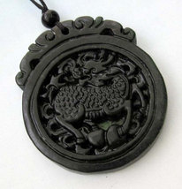 Free Shipping -   Good luck Amulet  Natural black Jadeite Jade carved sacred dra - $20.00