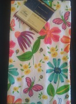 KITCHEN TOWELS 3-pc Floral Hand Towel Flower Butterfly Turquoise Green image 4