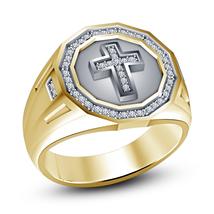 Round Cut Sim Diamond 925 Silver 14k Gold Plated Christian Religious Cross Ring - $86.35