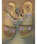 Lucky Brand Tan Size 6.5 Flower Leather Platform Sandals.LK-TAUL - $8.60