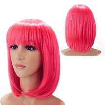 "H&N Hair Short Pink Bob Wigs for Women 13"" Straight Bob Wig With Bangs S... - $17.97"