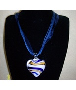 Blue Stripes Lampworks Necklace - $9.95