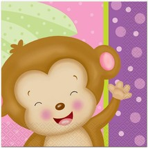 Baby Girl Monkey Lunch Napkins 16 Per Package Baby Shower and  Party Supplies - $3.02