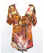 KAREN KANE Size 2X Fits 1X Mesh Knit Empire Draped Fitted Top - $15.99