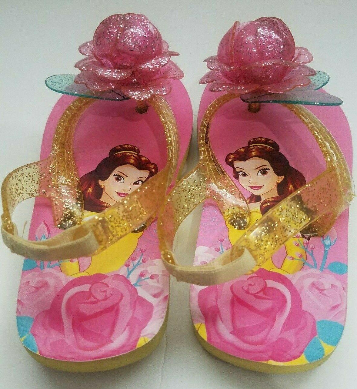 Disney Store Princess Belle Flip Flops Sandals Size M 7/8 Jelly Straps Pink