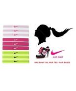 New Nike Sports band Colored Elastic Pony Tail Hair Ties 9-Pc Set Bin # 5 - $20.00