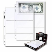 1 box of 100 BCW 3-Pocket Currency Pages Size 3.5 x 8 Paper Money Binder... - $20.57