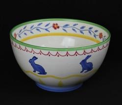 Studio Nova Old MacDonald's Farm Bunny Rabbit Handpainted Spongeware Bowl U8 - $37.36