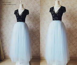 Dressromantic 4 layer Maxi Tulle Skirt Floor Length Petticoat Tutus Skirt- blue