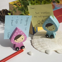 [Happy Doll] - Card Holder / Wooden Clips / Woo... - $12.99