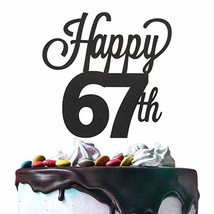 67th Happy Birthday Cake Topper Premium Double Sided Black Glitter Cards... - $13.57