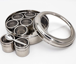 Stainless Steel Double See Thru Lid Spice Box Mashala Dabba