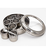 Stainless Steel Double See Thru Lid Spice Box Mashala Dabba - £47.98 GBP
