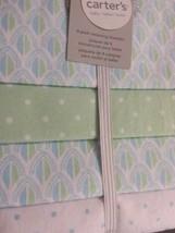 NWT CARTER'S Pack of 4  Baby Nursery Receiving Blankets Green/White Patt... - $17.81