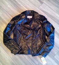NEW ! NWT MICHAEL KORS Faux Leather Moto Jacket in Patent Glossy Black S... - $65.00