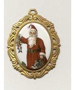 Victorian Christmas Santa Pendant Porcelain  Costume Jewelry - $4.00