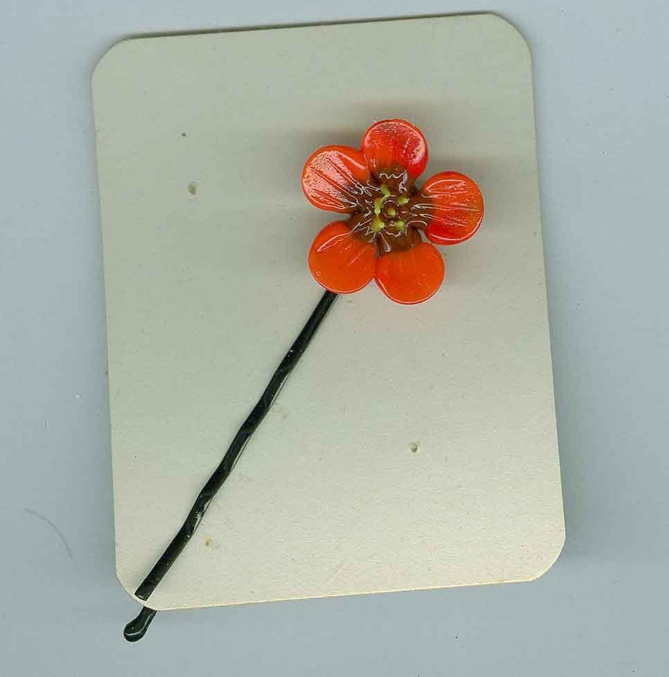 Glass Czech Artist Made  Orange Poppy Hair Ornament Costume Jewelry Bonanza
