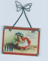 3 Sugared Patriotic  Mini-Post Card  Ornaments  Christmas  - $6.99