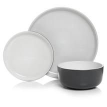 Ceramic Grey 12 Pc Dinner Set Plate Bowl Tableware Dinnerware Crockery D... - $55.08