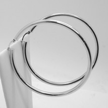 18K WHITE GOLD ROUND CIRCLE EARRINGS DIAMETER 60 MM, WIDTH 3 MM, MADE IN ITALY image 2