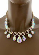 Dainty Evening Necklace Earring Set Aurora Borealis Crystals, Prom, Bridal - $31.35